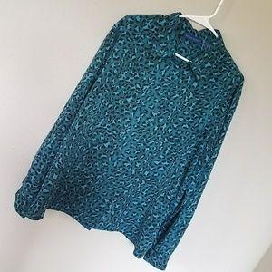 Karen Scott Green Leopard Button-Up Blouse